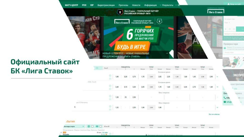 Регистрация на сайте Liga stavok